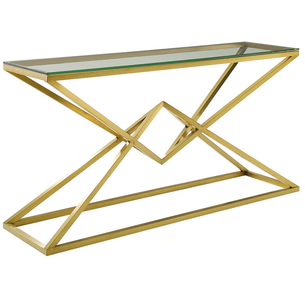 Poland Modern Gold Steel Console Table - Front View