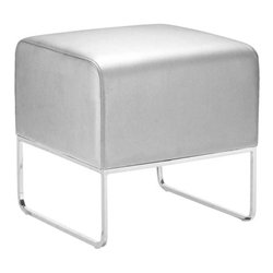 Poland Ottoman Modern in Silver With Chrome