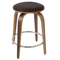 Polaris Modern Walnut Counter Stool w/ Chrome Footrest