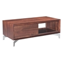 Perth Chestnut Finish Wood + Brushed Stainless Steel Base Modern Coffee Table with Storage