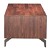 Pontiff Chestnut Finish Wood + Stainless Steel Base Modern Coffee Table