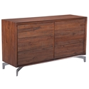 Pontiff Chestnut Finish Solid Wood + Stainless Steel Base Modern Double Dresser