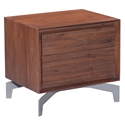 Pontiff Chestnut Wood + Brushed Stainless Steel Modern End Table + Nightstand