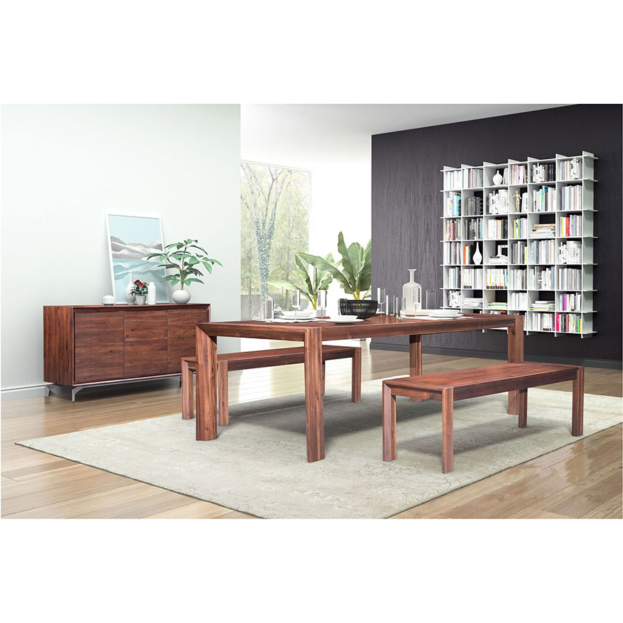 Extension Dining Table Pontiff Chestnut Finish Wood Rectangle Modern With Benches And Buffet