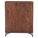 Perth Chestnut Wood + Brushed Stainless Steel 5 Drawer Modern High Chest