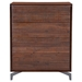 Pontiff Chestnut Wood + Brushed Stainless Steel Modern High Chest of Drawers