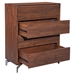 Pontiff Chestnut Wood + Brushed Stainless Steel 5 Drawer Contemporary High Chest