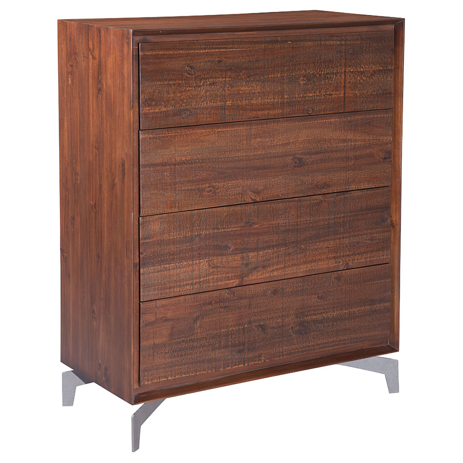 Pontiff Chestnut Wood + Brushed Stainless Steel 5 Drawer Modern High Chest