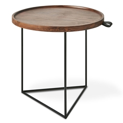 Gus* Modern Porter Contemporary End Table with Matte Black Powder Coated Steel Base and Solid Walnut Top