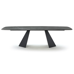 Portland Pietra Gray Marble Ceramic Dining Table by Pezzan