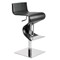 Portland Black Leather + Polished Stainless Steel Modern Adjustable Height Bar + Counter Stool