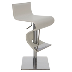 Portland White Leather + Polished Stainless Steel Modern Adjustable Height Bar + Counter Stool