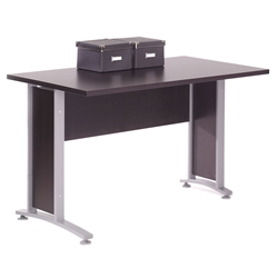 Prague Modern 47 Inch Desk in Coffee + Silver