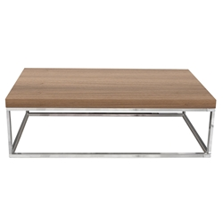 Prairie Walnut + Chrome Modern Coffee Table
