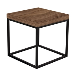 Prairie Walnut + Black Square Modern Side Table
