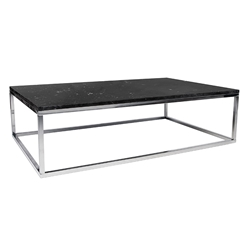 Prairie Black + Chrome Marble Contemporary Coffee Table by TemaHome