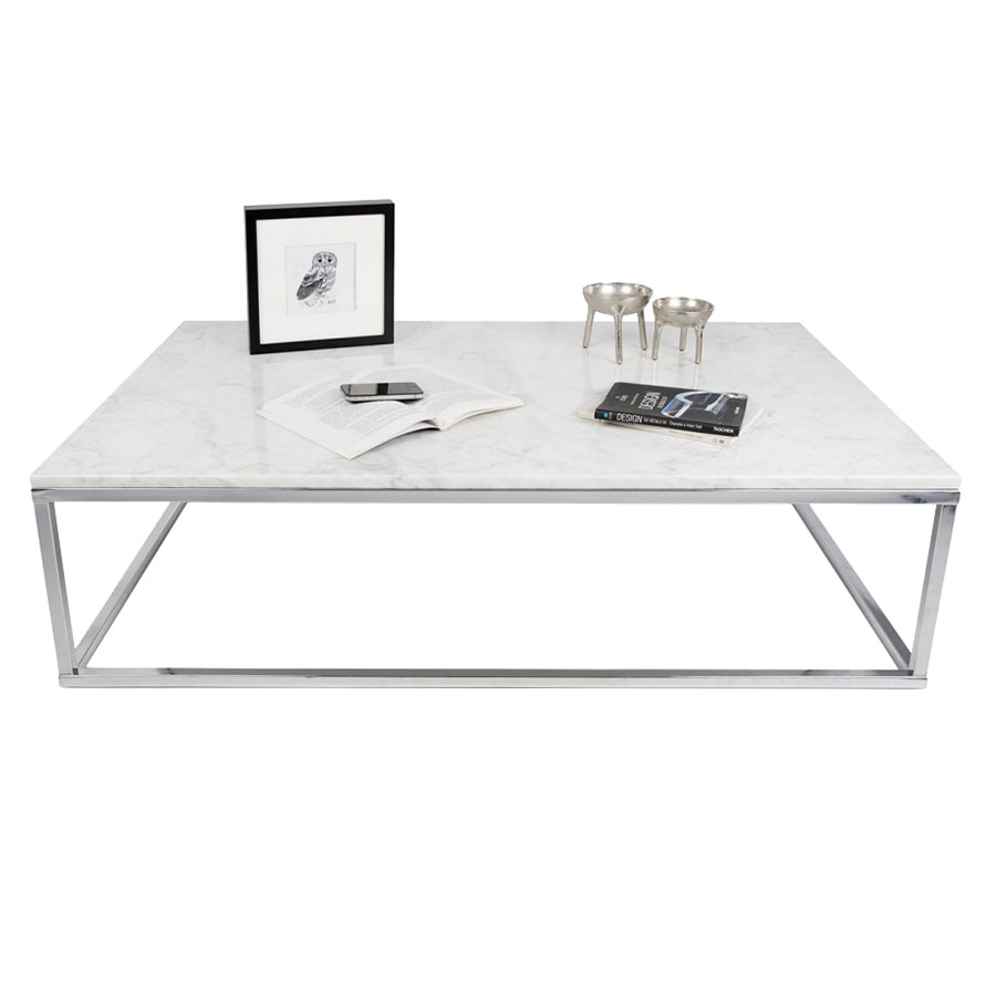 Marble And Chrome Coffee Table: Prairie Wht/Chrome Marble Coffee Table By TemaHome