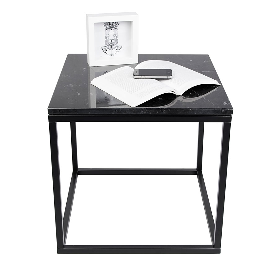 Prairie Black Marble Contemporary End Table Dressed