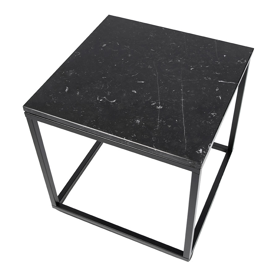 Prairie Black Marble Contemporary End Table Up