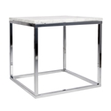 Prairie White + Chrome Marble Contemporary End Table
