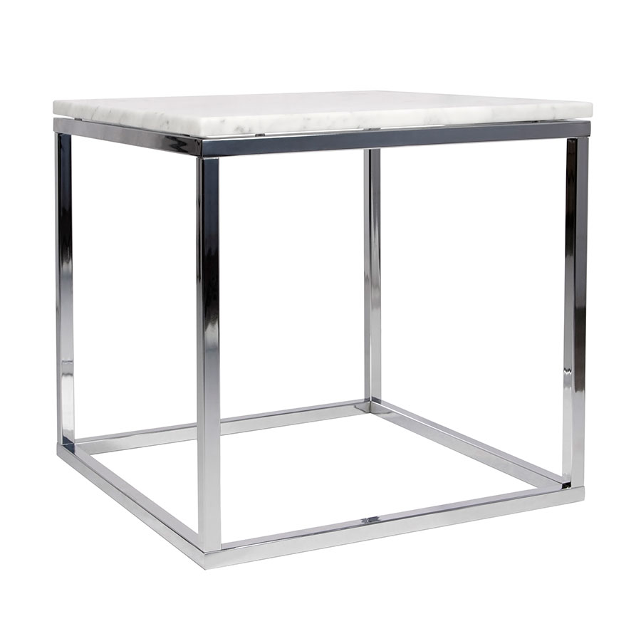 Prairie White + Chrome Marble Contemporary End Table By TemaHome