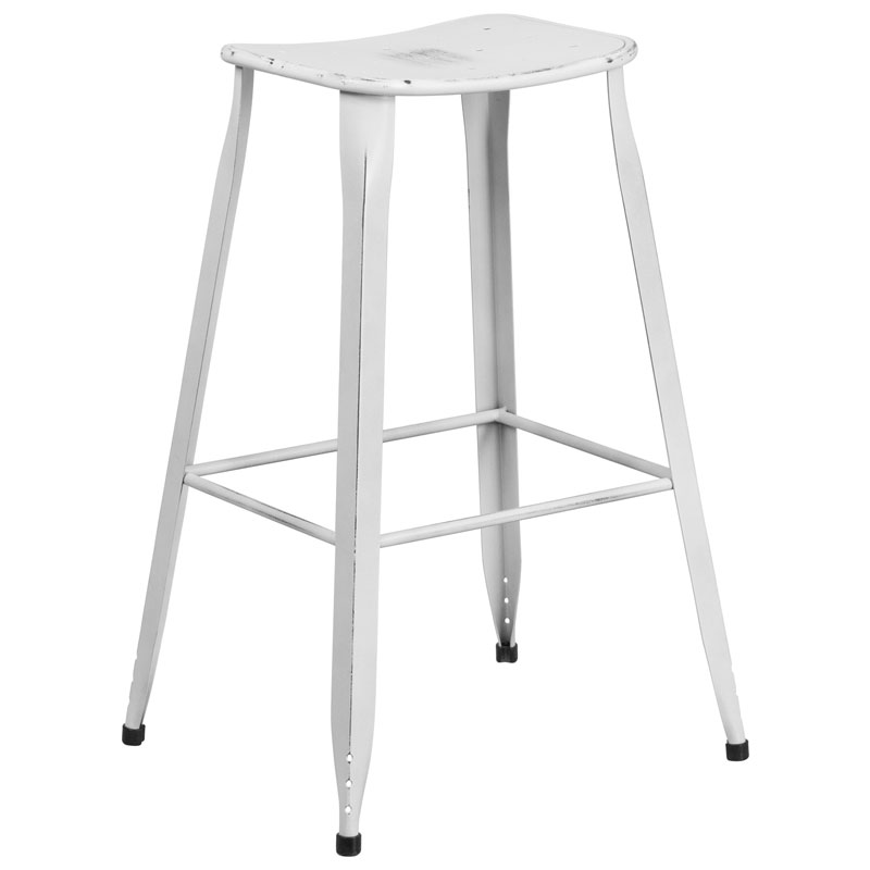 Premier Distressed White Indoor Outdoor Bar Stool