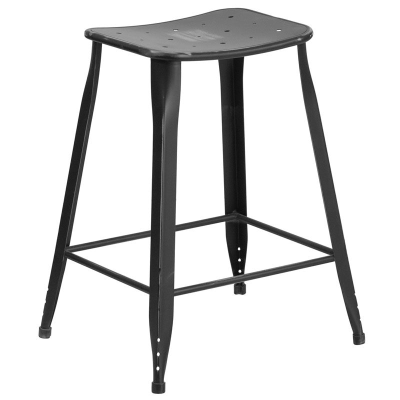 Premier Distressed Black Indoor Outdoor Counter Stool