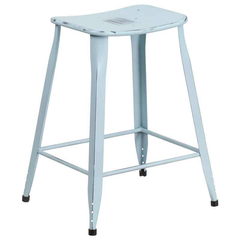 Premier Distressed Light Blue Indoor Outdoor Counter Stool