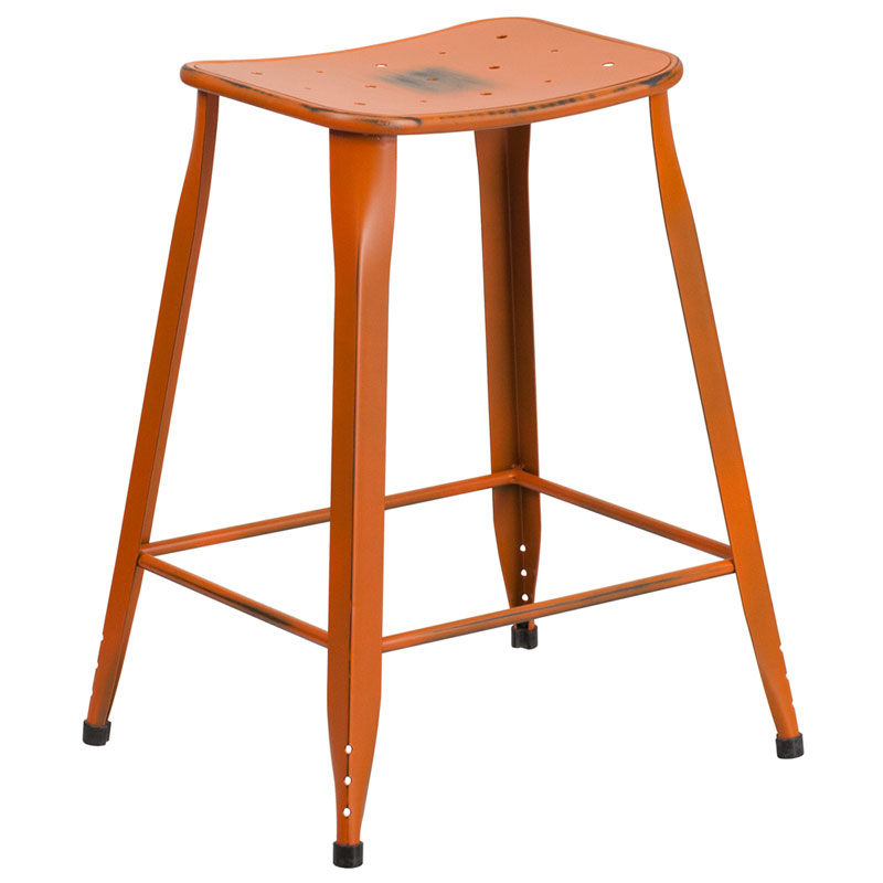 Premier Distressed Orange Indoor Outdoor Counter Stool
