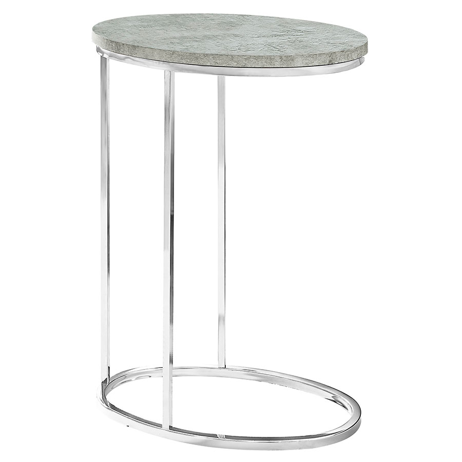 Prescott Modern Gray Cement-Look Oval Accent Table
