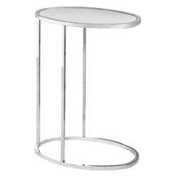 Prescott Modern Mirrored Oval Accent Table