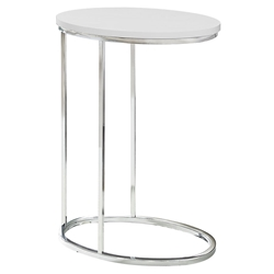 Prescott Modern Glossy White Oval Accent Table