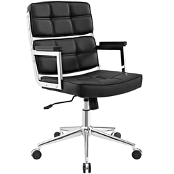 Presidio Modern Black + Chrome High Back Office Chair