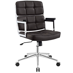 Presidio Modern Brown + Chrome High Back Office Chair