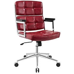 Presidio Modern Red + Chrome High Back Office Chair
