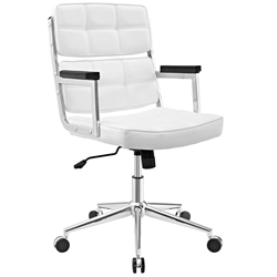 Presidio Modern White + Chrome High Back Office Chair
