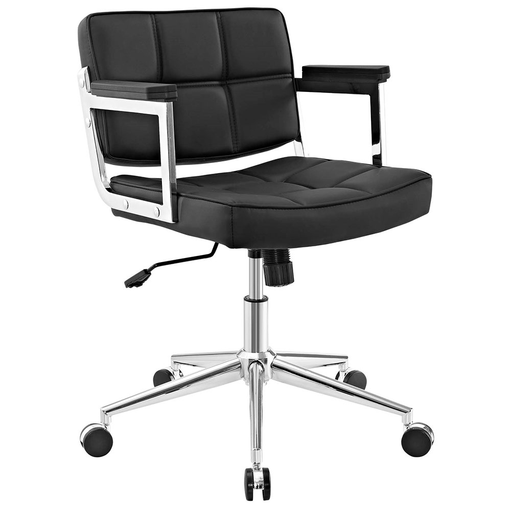 Presidio Modern Black + Chrome Mid Back Office Chair