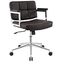 Presidio Modern Brown + Chrome Mid Back Office Chair