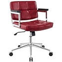 Presidio Modern Red + Chrome Mid Back Office Chair
