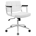 Presidio Modern White + Chrome Mid Back Office Chair