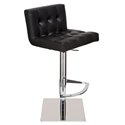 Preston Black Naugahyde + Polished Steel Modern Adjustable Height Bar + Counter Stool - Side