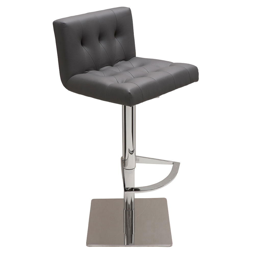 Preston Gray Naugahyde + Chromed Steel Modern Adjustable Height Bar + Counter Stool