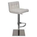 Preston White Naugahyde + Polished Steel Modern Adjustable Height Bar + Counter Stool