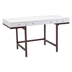 Preston White Wood Top + Espresso Wood Base Modern Desk with Drawers