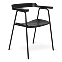 Gus* Modern Principal Arm Chair in Matte Black Powder Coated Steel and Black Ash Wood