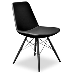 Prosper Modern Classic Dining Chair in Black Leatherette