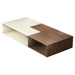 Modloft Black Putney Jigsaw Modern Coffee Tables in Walnut and Almond