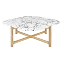 Gus* Modern Quarry Bianca Marble + Ash Hardwood Contemporary Coffee Table