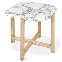 Gus* Modern Quarry Bianca Marble + Ash Hardwood Contemporary End Table