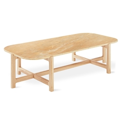Gus* Modern Quarry Rectangle Coffee Table With Aurora Marble Top and Natural Ash Wood Base